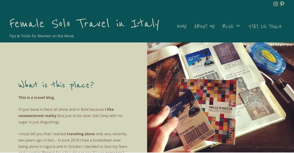Female solo travel in Italy - sito internet